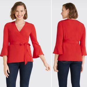 NWT Draper James Red Solid Wrap Top